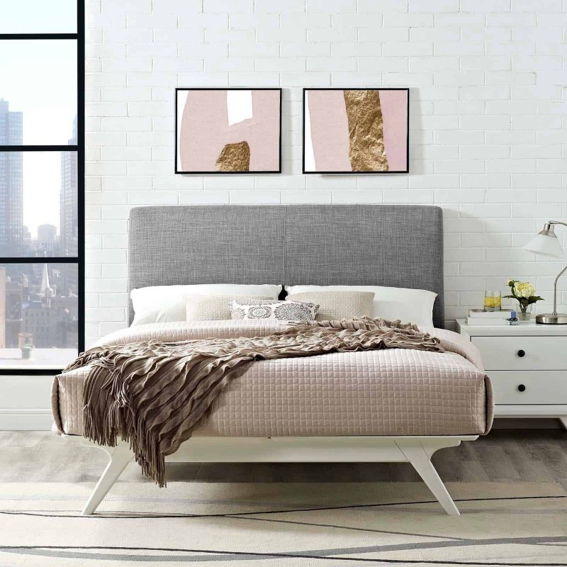 Tracy Full Bed in White Gray