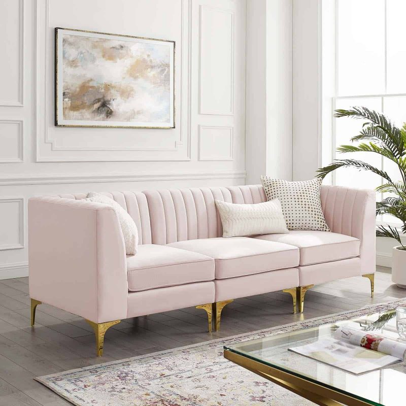 Triumph Channel Tufted Performance Velvet 3-Seater Sofa in Pink