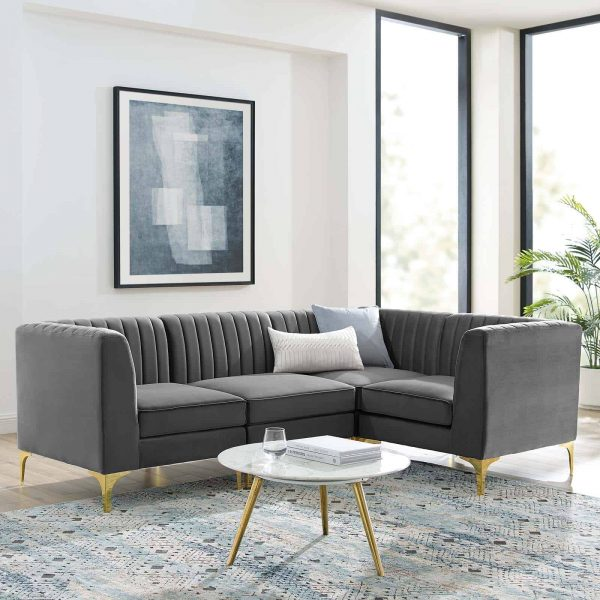 Triumph Channel Tufted Performance Velvet 4-Piece Sectional Sofa in Gray
