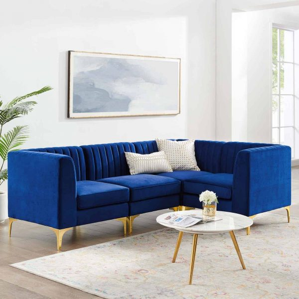 Triumph Channel Tufted Performance Velvet 4-Piece Sectional Sofa in Navy