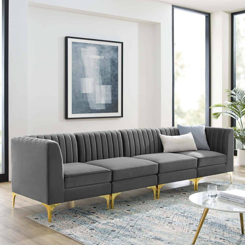 Triumph Channel Tufted Performance Velvet 4-Seater Sofa in Gray