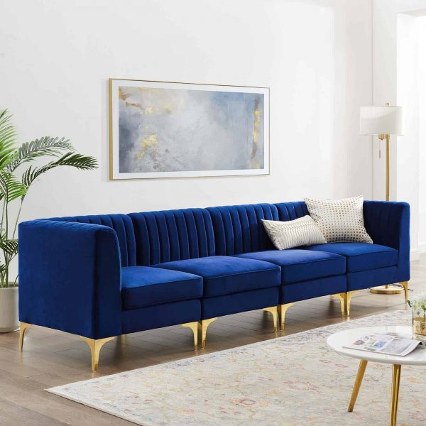 Triumph Channel Tufted Performance Velvet 4-Seater Sofa in Navy