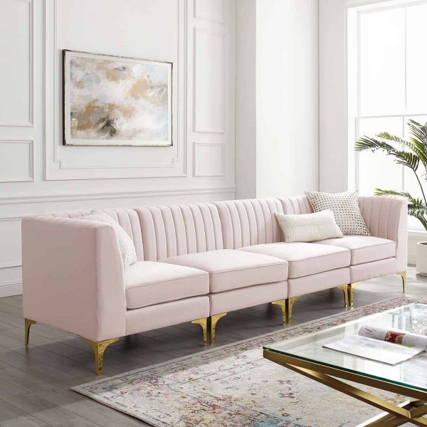Triumph Channel Tufted Performance Velvet 4-Seater Sofa in Pink