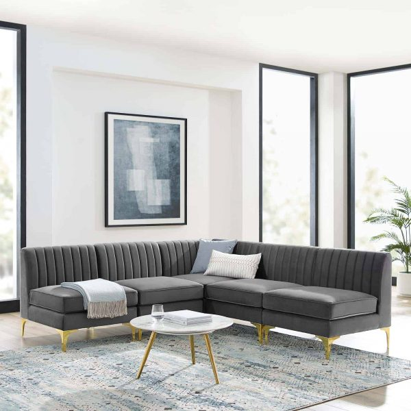 Triumph Channel Tufted Performance Velvet 5-Piece Sectional Sofa in Gray