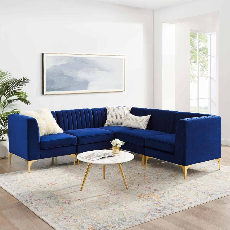 Triumph Channel Tufted Performance Velvet 5-Piece Sectional Sofa in Navy