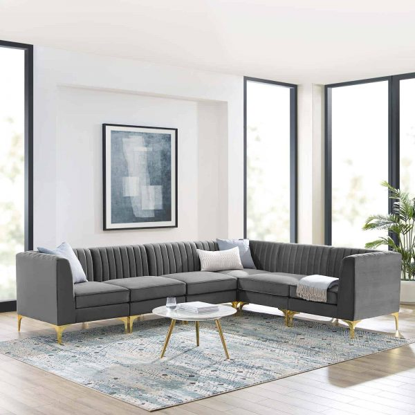 Triumph Channel Tufted Performance Velvet 6-Piece Sectional Sofa in Gray