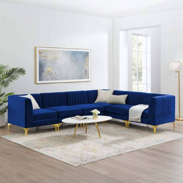 Triumph Channel Tufted Performance Velvet 6-Piece Sectional Sofa in Navy