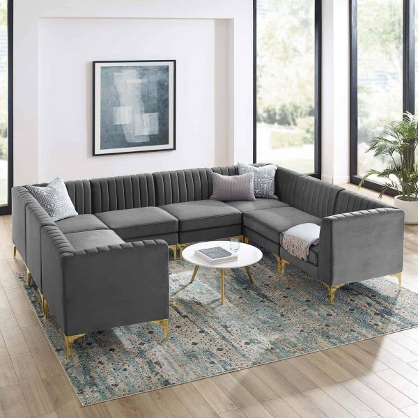 Triumph Channel Tufted Performance Velvet 8-Piece Sectional Sofa in Gray