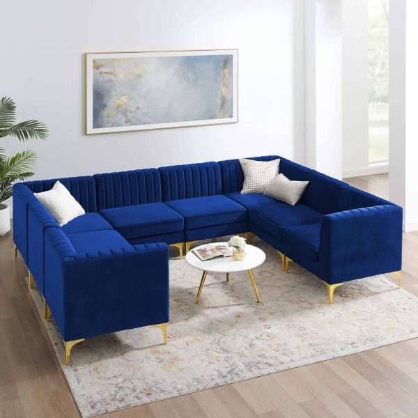 Triumph Channel Tufted Performance Velvet 8-Piece Sectional Sofa in Navy