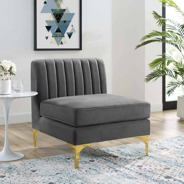 Triumph Channel Tufted Performance Velvet Armless Chair in Gray