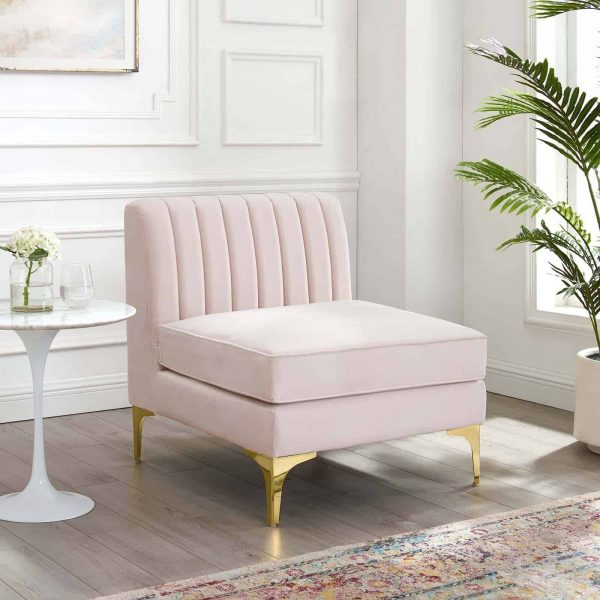 Triumph Channel Tufted Performance Velvet Armless Chair in Pink