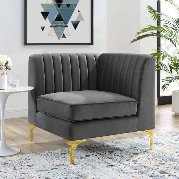 Triumph Channel Tufted Performance Velvet Sectional Sofa Corner Chair in Gray