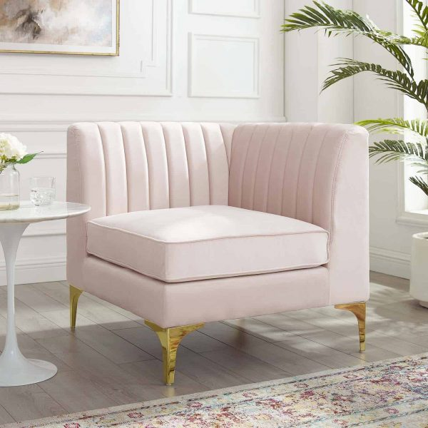 Triumph Channel Tufted Performance Velvet Sectional Sofa Corner Chair in Pink