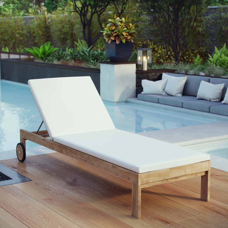 Upland Outdoor Patio Teak Chaise in Natural White