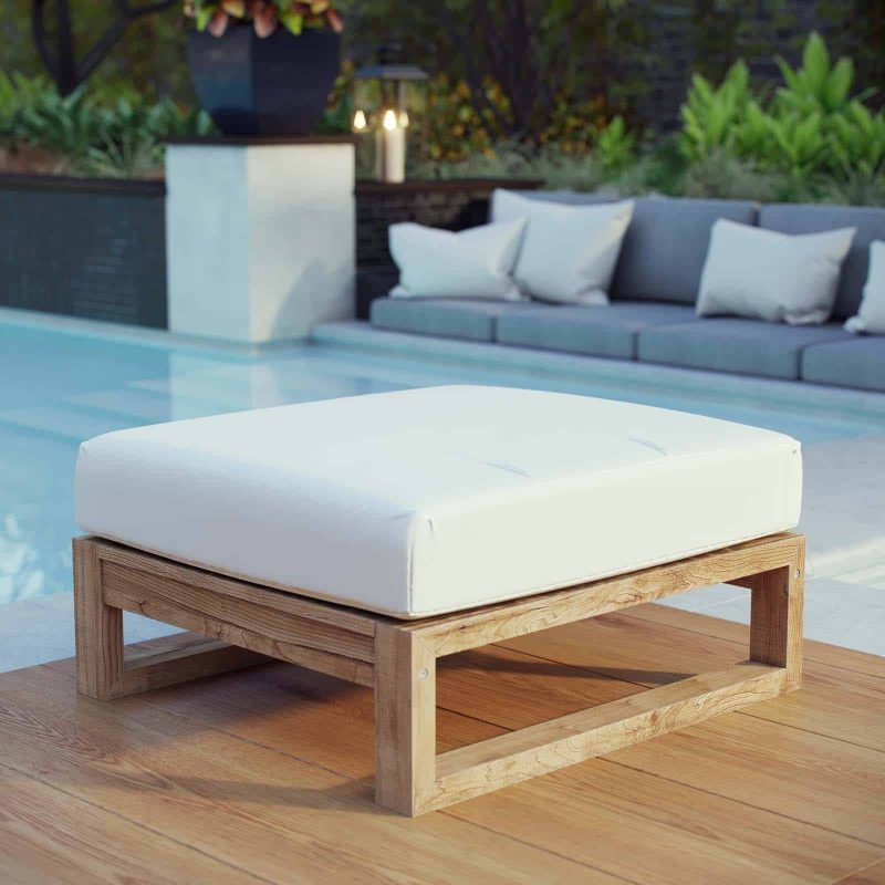 Upland Outdoor Patio Teak Ottoman in Natural White