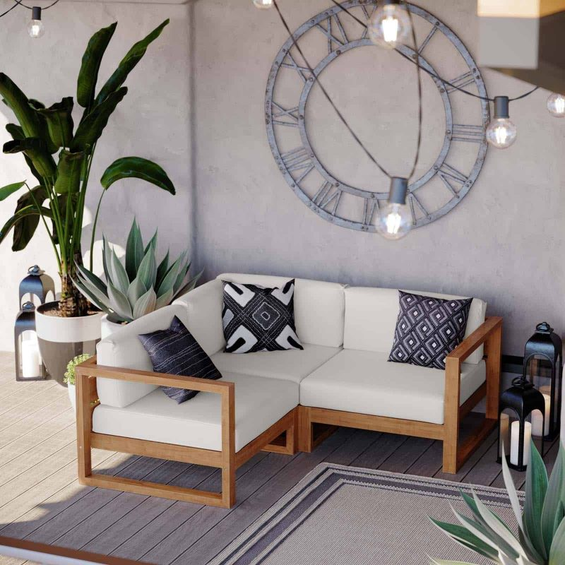Upland Outdoor Patio Teak Wood 3-Piece Sectional Sofa Set in Natural White