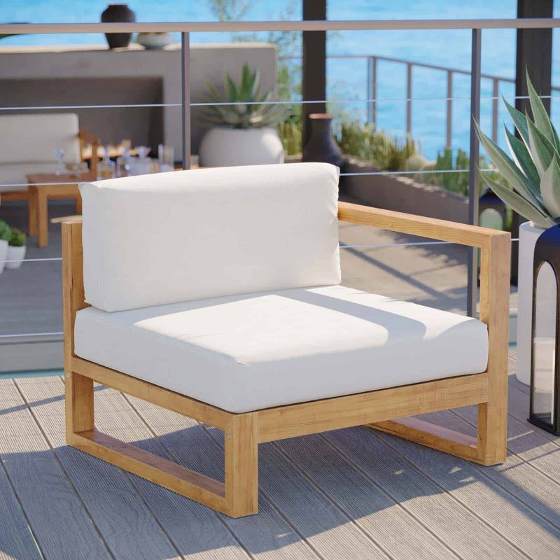 Upland Outdoor Patio Teak Wood Right-Arm Chair in Natural White