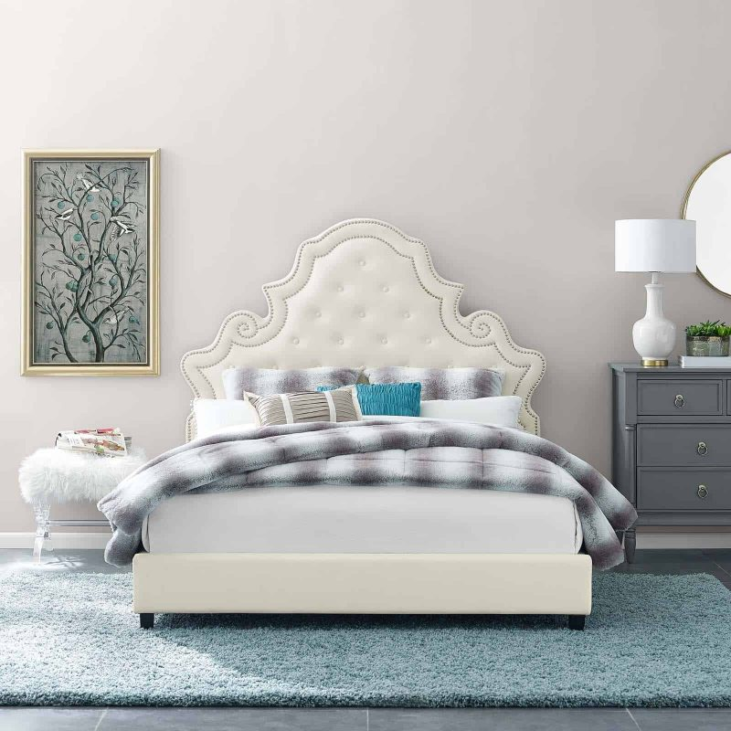 Valentina Queen Tufted Nailhead Performance Velvet Platform Bed in Ivory
