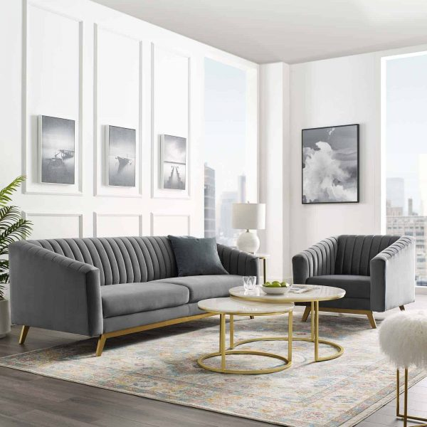 Valiant Vertical Channel Tufted Performance Velvet Sofa and Armchair Set in Gray