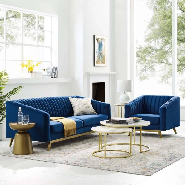 Valiant Vertical Channel Tufted Performance Velvet Sofa and Armchair Set in Navy