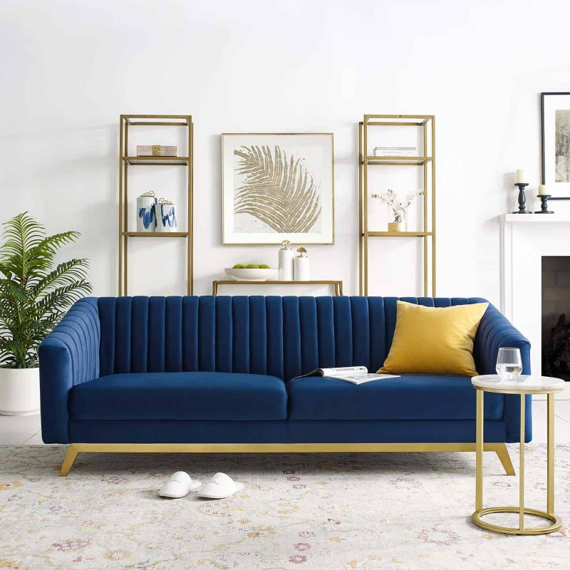 Valiant Vertical Channel Tufted Performance Velvet Sofa in Navy