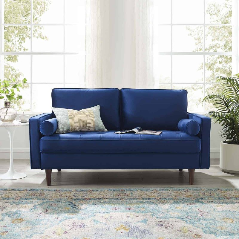 Valour Performance Velvet Loveseat in Navy