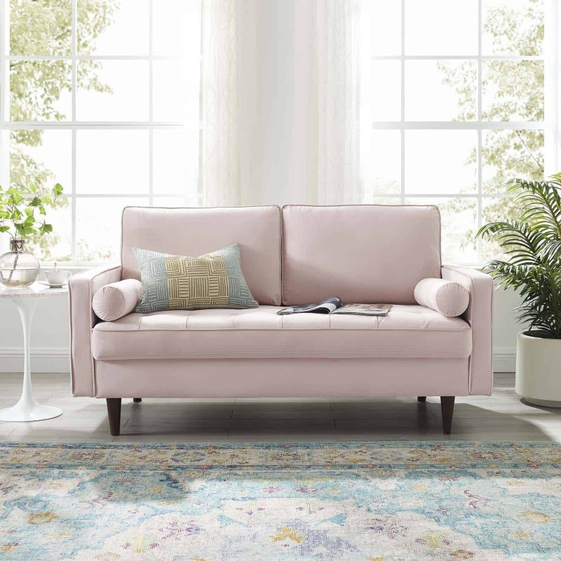 Valour Performance Velvet Loveseat in Pink