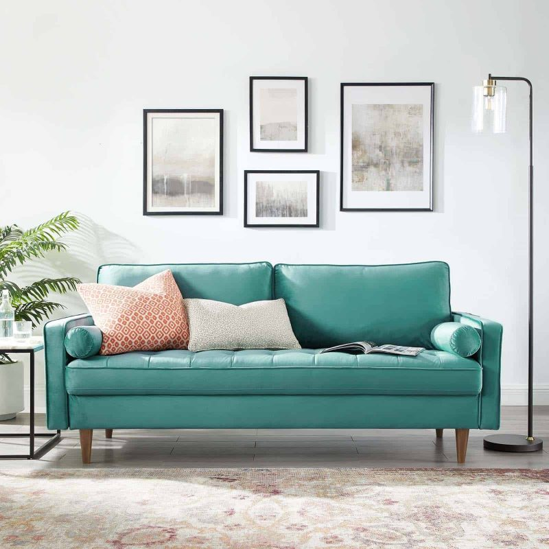 Valour Performance Velvet Sofa in Teal