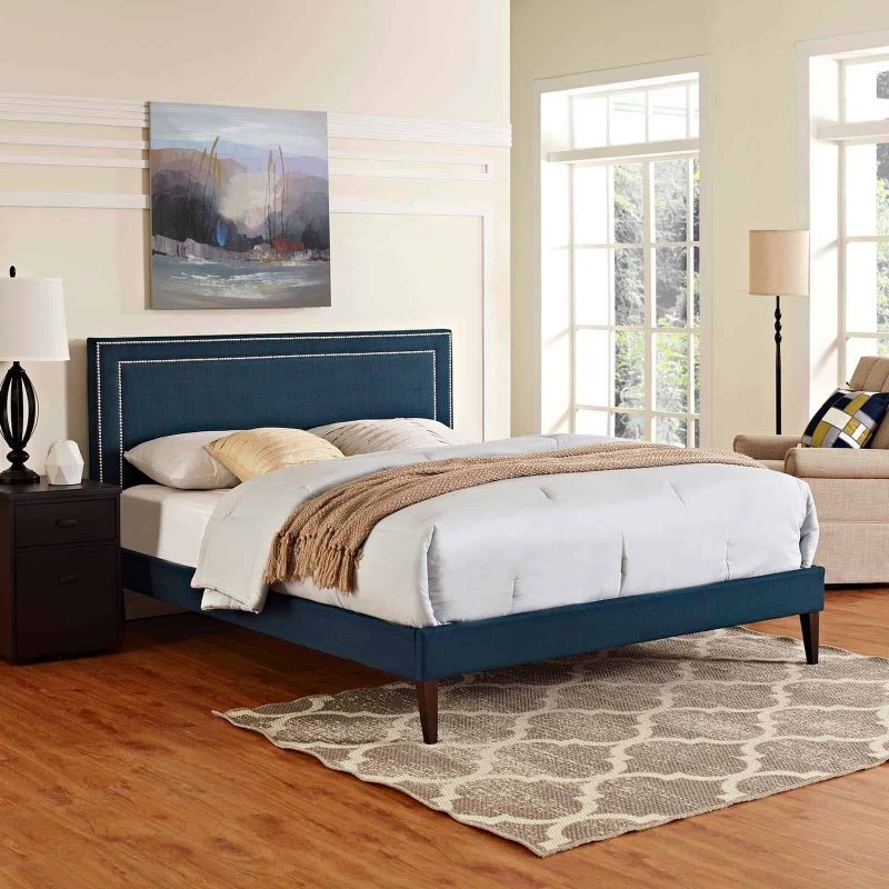 Virginia Full Fabric Platform Bed with Squared Tapered Legs in Azure
