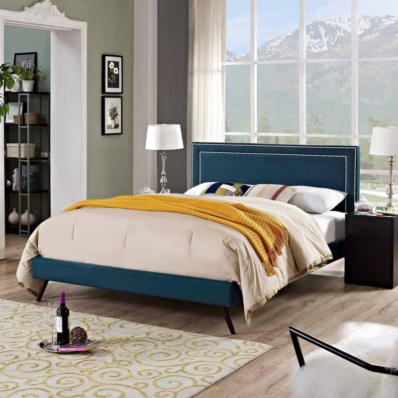 Virginia King Fabric Platform Bed with Round Splayed Legs in Azure
