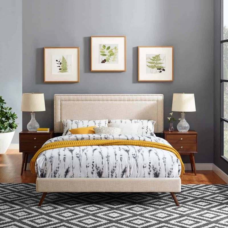 Virginia Queen Fabric Platform Bed with Round Splayed Legs in Beige