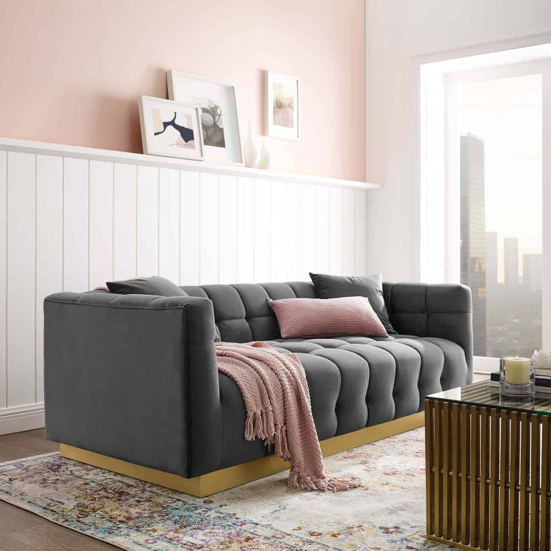 Vivacious Biscuit Tufted Performance Velvet Sofa in Gray