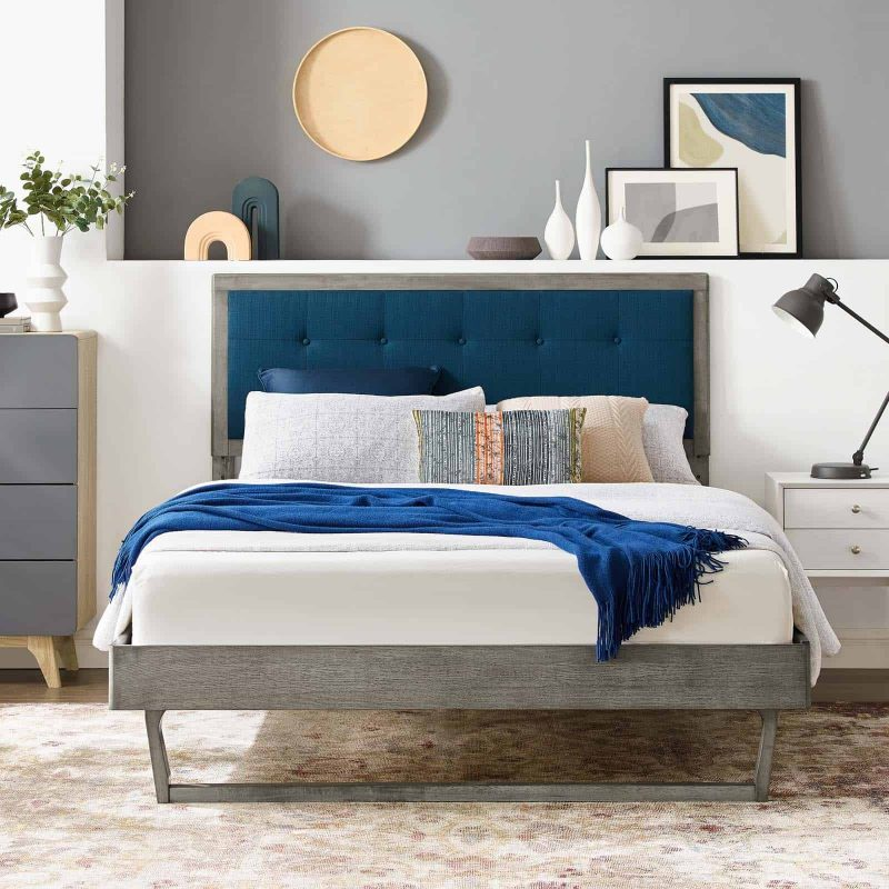Willow Full Wood Platform Bed With Angular Frame in Gray Azure