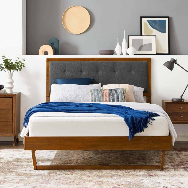 Willow Full Wood Platform Bed With Angular Frame in Walnut Charcoal