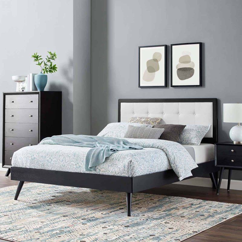 Willow Full Wood Platform Bed With Splayed Legs in Black White