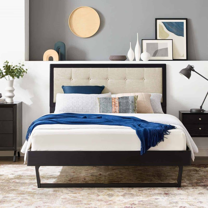 Willow King Wood Platform Bed With Angular Frame in Black Beige