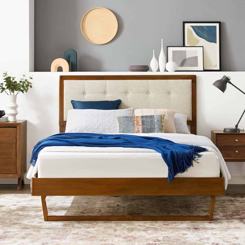 Willow King Wood Platform Bed With Angular Frame in Walnut Beige