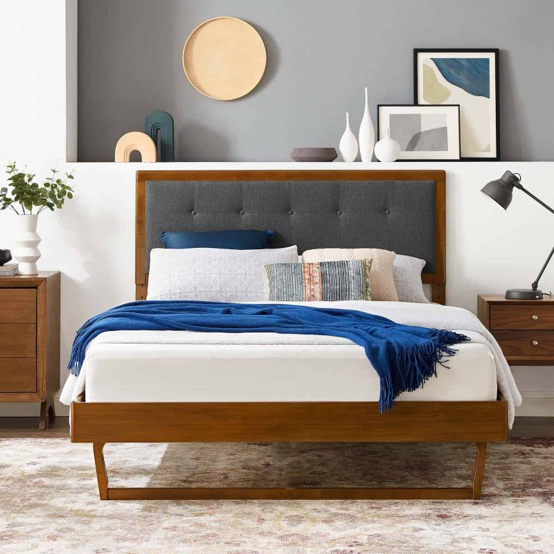 Willow King Wood Platform Bed With Angular Frame in Walnut Charcoal