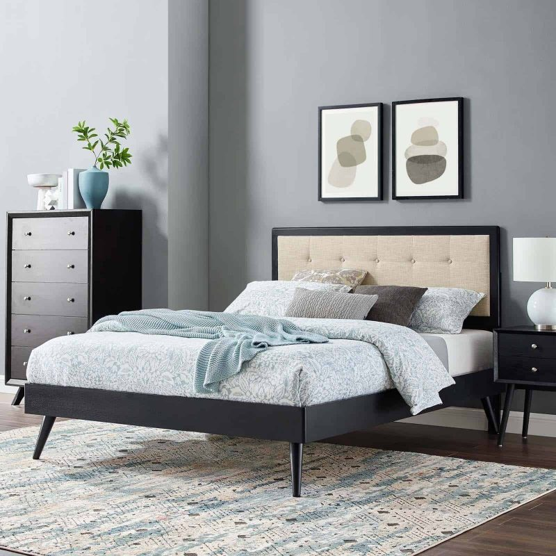 Willow King Wood Platform Bed With Splayed Legs in Black Beige