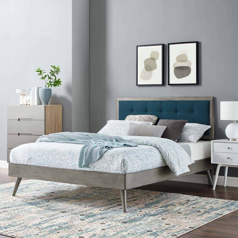 Willow King Wood Platform Bed With Splayed Legs in Gray Azure