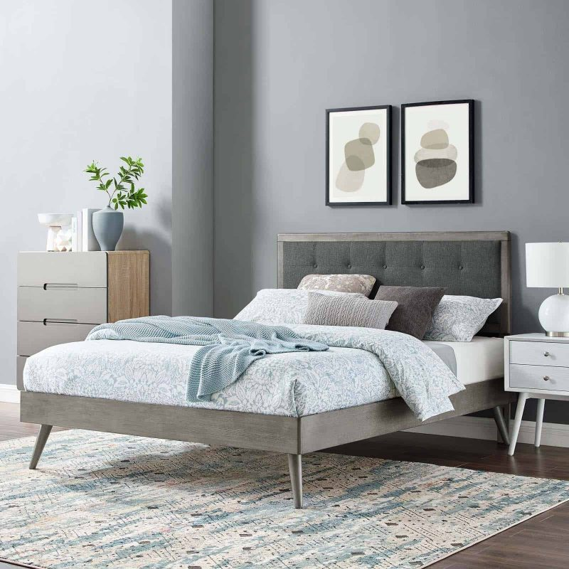 Willow King Wood Platform Bed With Splayed Legs in Gray Charcoal