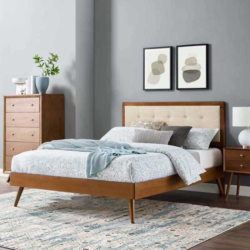 Willow King Wood Platform Bed With Splayed Legs in Walnut Beige