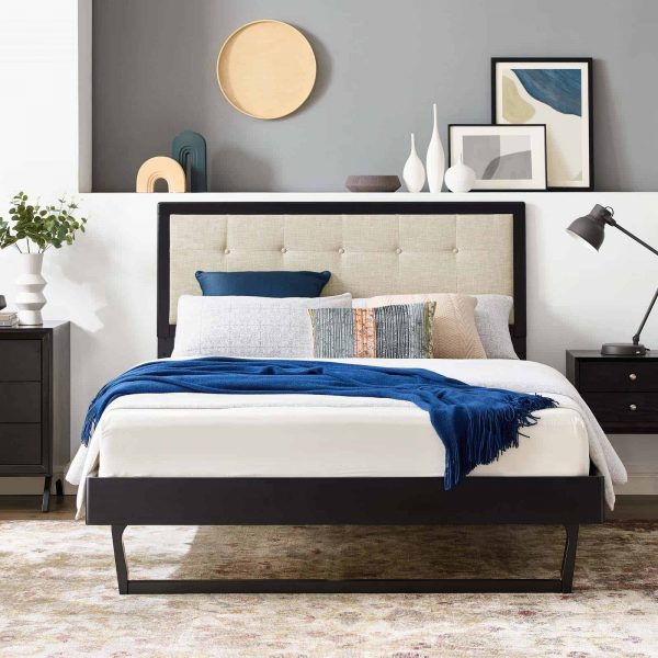 Willow Queen Wood Platform Bed With Angular Frame in Black Beige