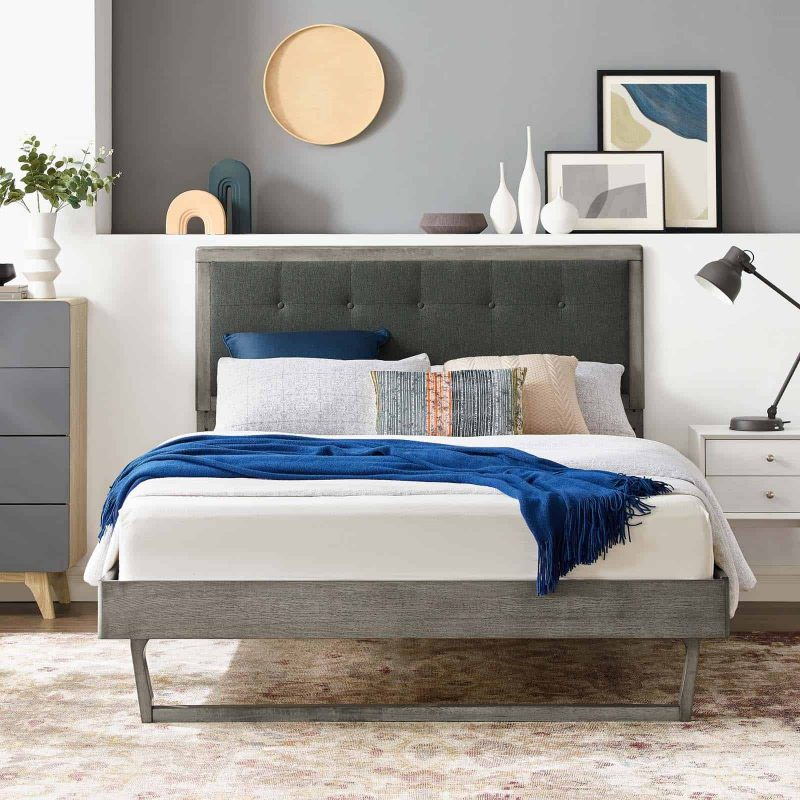 Willow Queen Wood Platform Bed With Angular Frame in Gray Charcoal