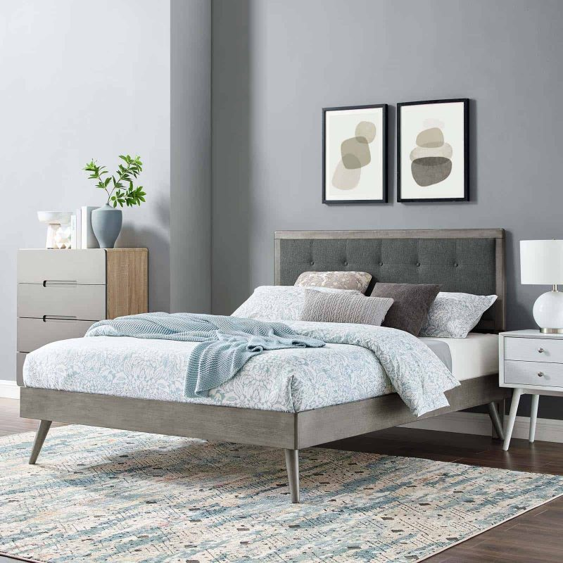 Willow Queen Wood Platform Bed With Splayed Legs in Gray Charcoal