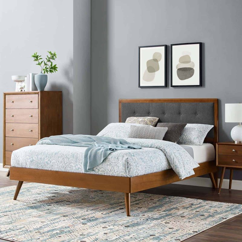 Willow Queen Wood Platform Bed With Splayed Legs in Walnut Charcoal