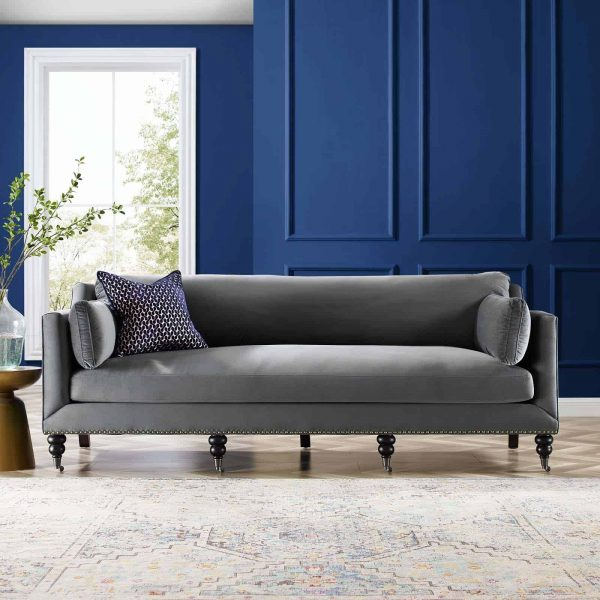 Windsor Performance Velvet Sofa in Gray