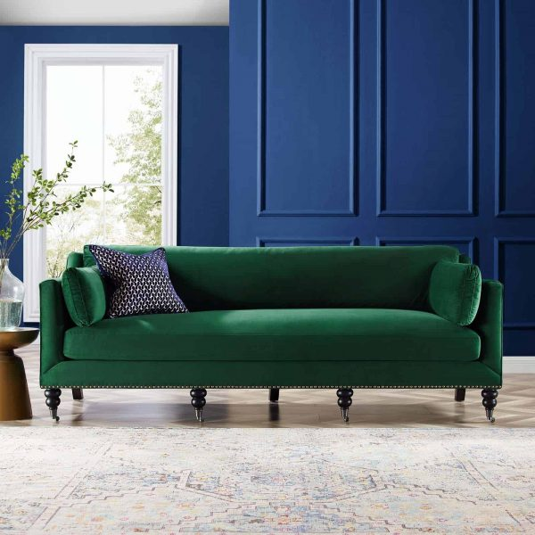 Windsor Performance Velvet Sofa in Green
