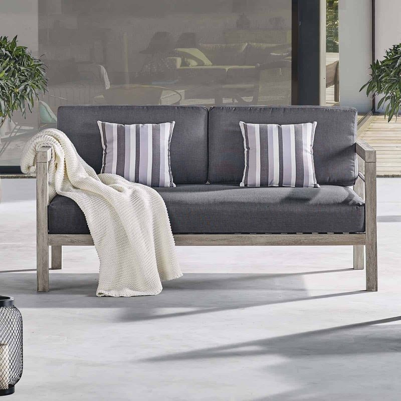 Wiscasset Outdoor Patio Acacia Wood Loveseat in Light Gray