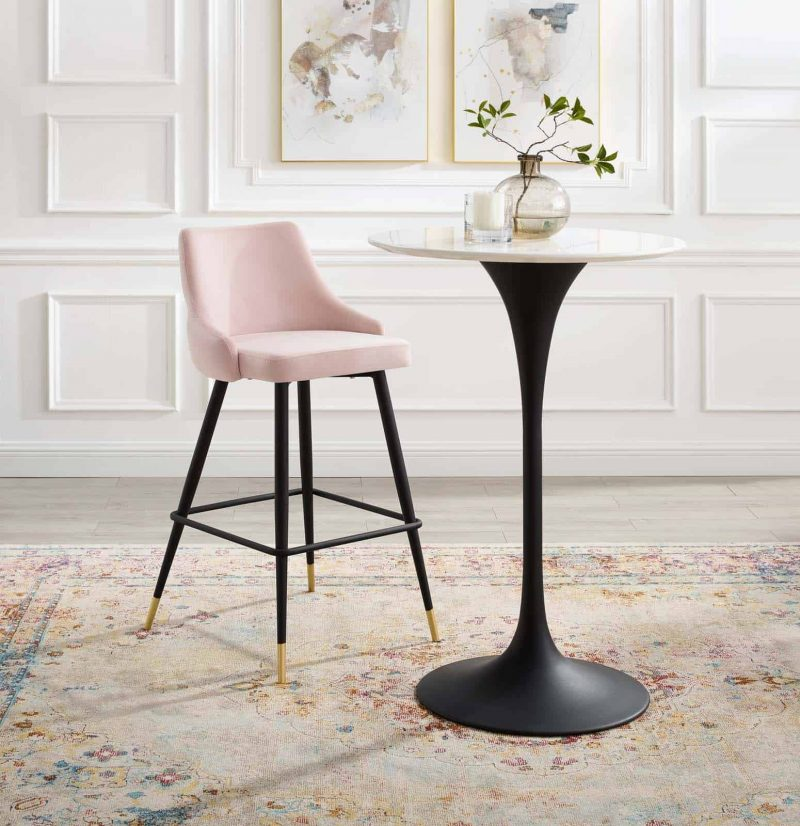 Adorn Performance Velvet Bar Stool in Pink
